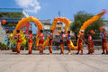 Ho Chi Minh, Vietnam - February 18, 2015 : Dragon dancing to celebrate Lunar New Year at Thien Hau Pagoda Royalty Free Stock Photo