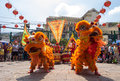 Ho Chi Minh, Vietnam - February 18, 2015 : Lion dancing to celebrate Lunar New Year at Thien Hau Pagoda Royalty Free Stock Photo