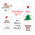 Ho-ho-ho free typography lettering and Santa Claus Head with vintage sun burst frame