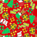 Ho ho ho santa and reindeer christmas seamless pattern Stock Photo
