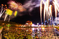 Ho kham luang fireworks at in chiang mai province of thailand Royalty Free Stock Photo