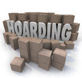 Hoarding boxes piled up word collection mess trash the surrounded by cardboard in an out of control messy of items junk and Stock Images