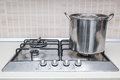 Hob cooker pot pan stainless steel cooking Stock Photo