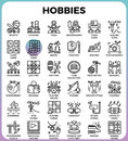 Hobbies and interest detailed line icons