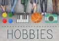Hobbies leisure lifestyle pastime fun concept Royalty Free Stock Images