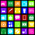 Hobby colorful icons on black background
