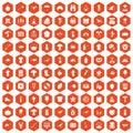 100 hobby icons hexagon orange