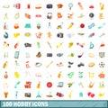 100 hobby icons set, cartoon style