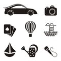 Hobby and leisure icons black on white background Stock Images