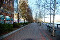 Hoboken waterfront walkway Royalty Free Stock Photo