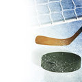 Hockey accessories on the light background Royalty Free Stock Photo