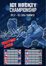 Hockey concept poster template. Eight teams table group A and B. Royalty Free Stock Photo