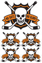 Hockey emblem with skull and crossed hockey sticks. Royalty Free Stock Photo