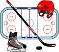 Hockey equipment set of sport Royalty Free Stock Photos