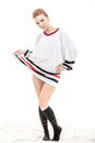 Hockey fan girl is posing in white jersey Royalty Free Stock Image