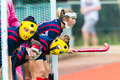 Hockey girls face masks goals short corner from mpumalanga province with for protection at the south african high schools national Royalty Free Stock Images