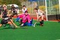 Hockey Girls Goalie Defending Action Royalty Free Stock Photo