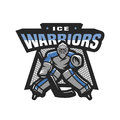 Hockey goalkeeper logo, emblem. Royalty Free Stock Photo