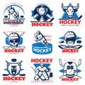 Hockey League Emblem Set Royalty Free Stock Photo