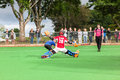 Hockey mens argentina plays south africa game action at kearsney college astro field between Stock Images