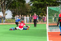 Hockey mens argentina plays south africa game action at kearsney college astro field between Royalty Free Stock Photo