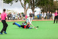 Hockey mens argentina plays south africa game action at kearsney college astro field between Stock Image