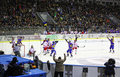 Is-hockey modiga Ukraina vs Polen Royaltyfria Bilder