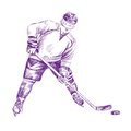 Hockey Player hand drawn vector llustration Stock Photo