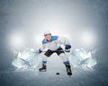 Hockey player with ice cubes Royalty Free Stock Photo