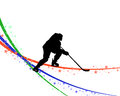 Hockey player silhouette Stock Photos