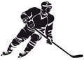 Hockey player, silhouette Stock Photo
