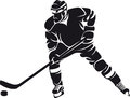 Hockey player, silhouette Royalty Free Stock Photos