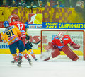 Hockey players asiago italy december unidentified compete during the hc asiago migross yellow vs alleghe tegola red score Stock Photo