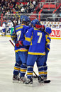 Hockey players greating each other during the world cup match between teams of the romania and ukraine division i group b Royalty Free Stock Image