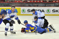 Hockey players on the ice during world cup match between teams of estonia and ukraine division i group b april ds Royalty Free Stock Photography