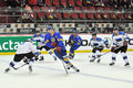 Hockey players on the ice during world cup match between teams of estonia and ukraine division i group b april ds Stock Image