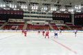 Hockey players play on closing ceremony of the championship moscow apr season ice for sports school junior teams and Royalty Free Stock Photos