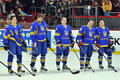 Hockey players of ukrainian national team after the world cup match between teams the netherlands and ukraine division i Stock Images