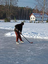 Hockey on pond 3 Stock Photography