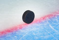 Hockey puck on goal line Royalty Free Stock Photo