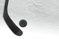 Hockey puck and putter on ice Royalty Free Stock Photo