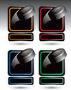 Hockey pucks in colored blank nameplate banners Royalty Free Stock Image