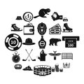 Hockey referee icons set, simple style Royalty Free Stock Photo
