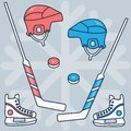 Hockey set of vector images: stick, puck, helmet, skates, red and blue on the background of snowflakes. Winter sports.