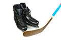 Hockey skates and stick Stock Photography