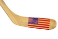 Hockey stick with the image of the american flag isolated Royalty Free Stock Photo