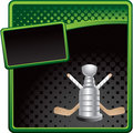 Hockey sticks and trophy on halftone banner Royalty Free Stock Photos