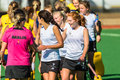 Hockey teams boland girls shaking hands after game over and unbeaten run at the south african high schools national Stock Photo