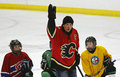 Hockey theo fleury instruction del nhl Immagini Stock Libere da Diritti