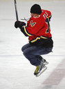 Hockey theo fleury jumps skating del nhl Fotografia Stock